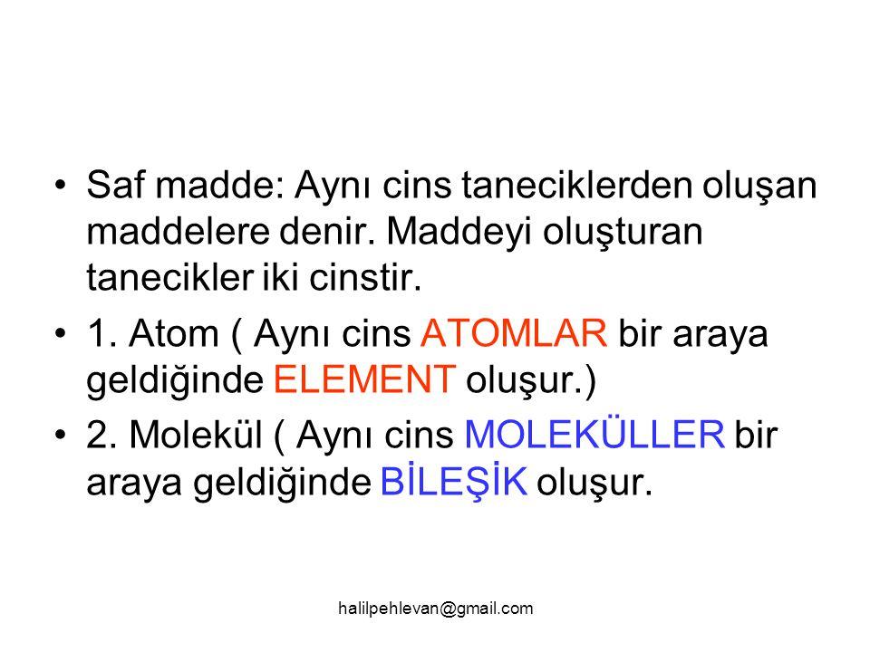 halilpehlevan@gmail.com Molekülün yapısında en az iki atom bulunur.