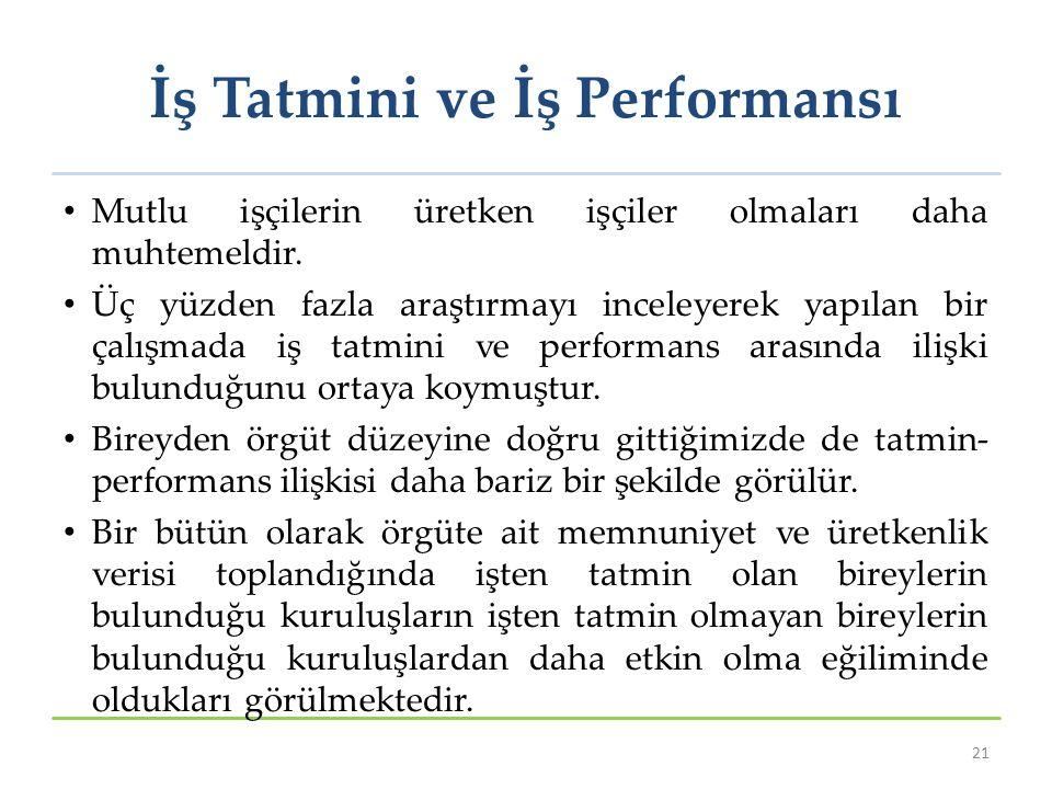 İş Tatmini ve İş Performansı Mutlu işçilerin üretken işçiler olmaları daha muhtemeldir.