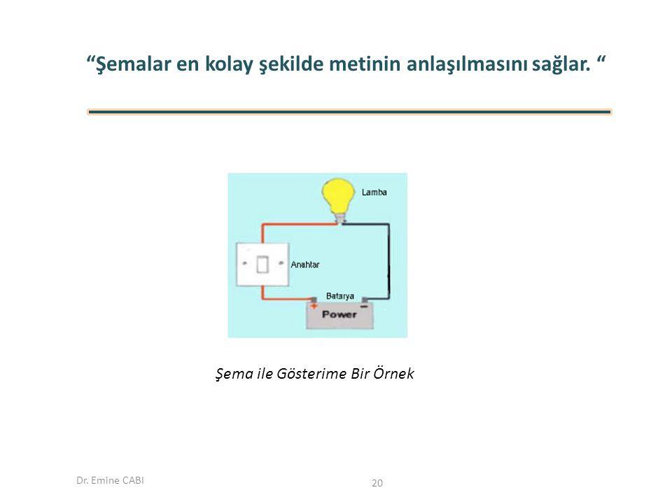 """Dr. Emine CABI """"Şemalar en kolay şekilde metinin anlaşılmasını sağlar. """" Şema ile Gösterime Bir Örnek 20"""