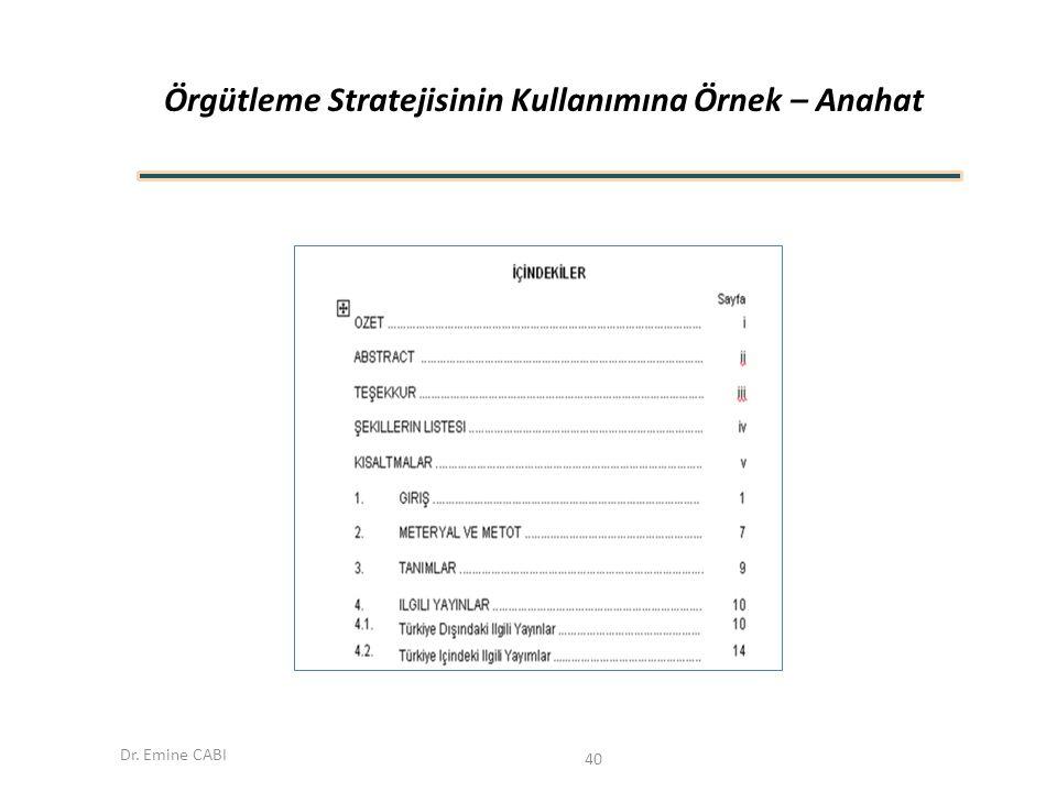 Dr. Emine CABI Örgütleme Stratejisinin Kullanımına Örnek – Anahat 40