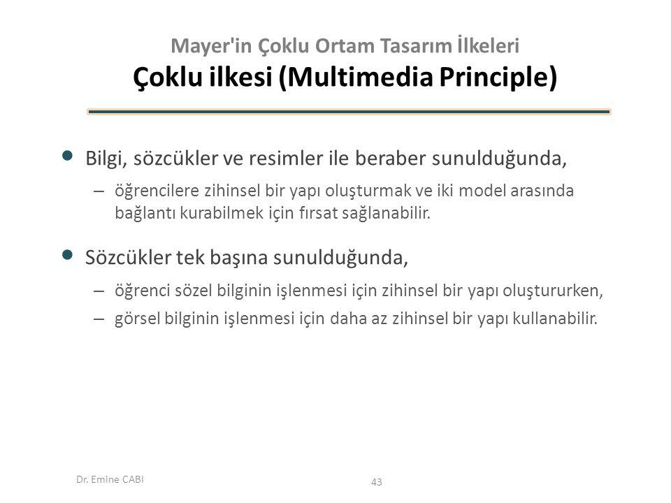 Dr. Emine CABI Mayer'in Çoklu Ortam Tasarım İlkeleri Çoklu ilkesi (Multimedia Principle) Bilgi, sözcükler ve resimler ile beraber sunulduğunda, – öğre
