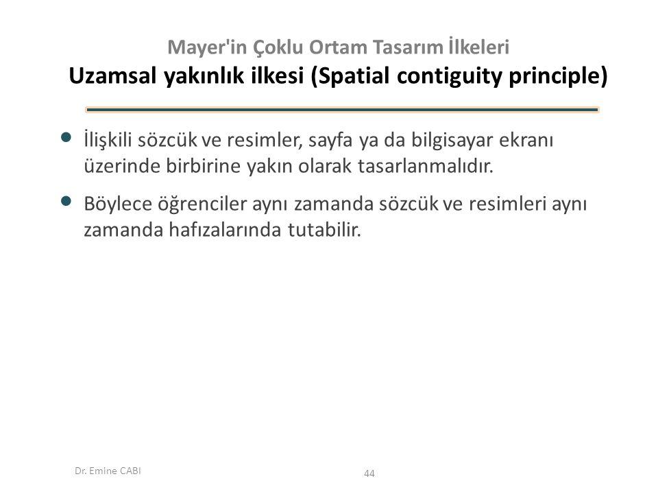 Dr. Emine CABI Mayer'in Çoklu Ortam Tasarım İlkeleri Uzamsal yakınlık ilkesi (Spatial contiguity principle) İlişkili sözcük ve resimler, sayfa ya da b