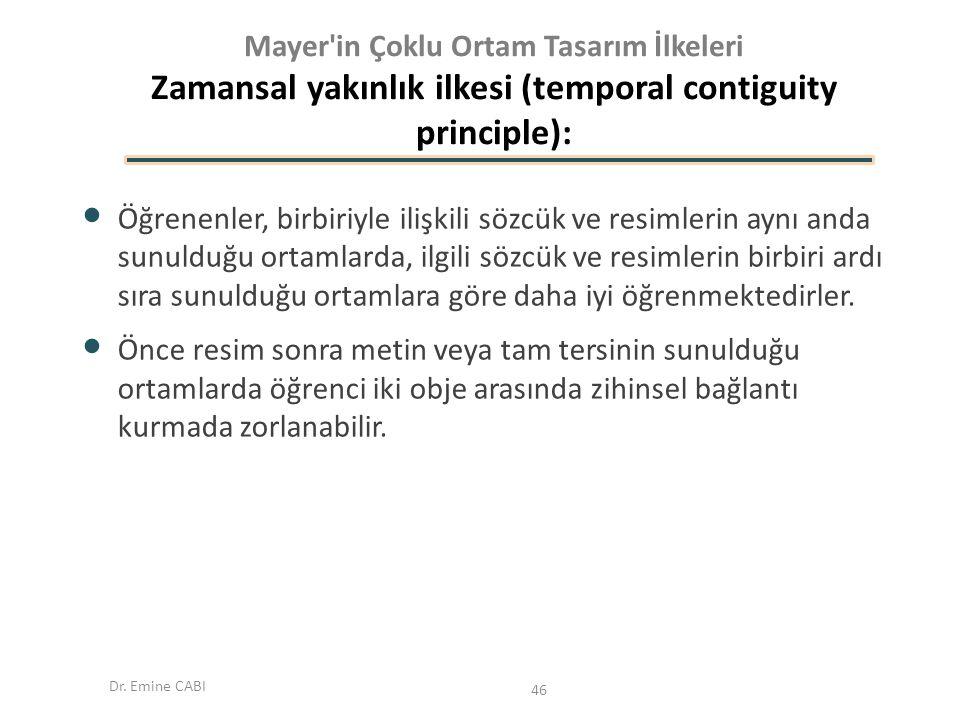 Dr. Emine CABI Mayer'in Çoklu Ortam Tasarım İlkeleri Zamansal yakınlık ilkesi (temporal contiguity principle): Öğrenenler, birbiriyle ilişkili sözcük