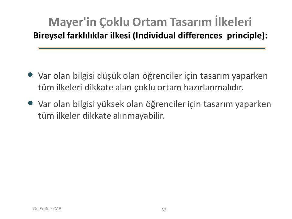 Dr. Emine CABI Mayer'in Çoklu Ortam Tasarım İlkeleri Bireysel farklılıklar ilkesi (Individual differences principle): Var olan bilgisi düşük olan öğre