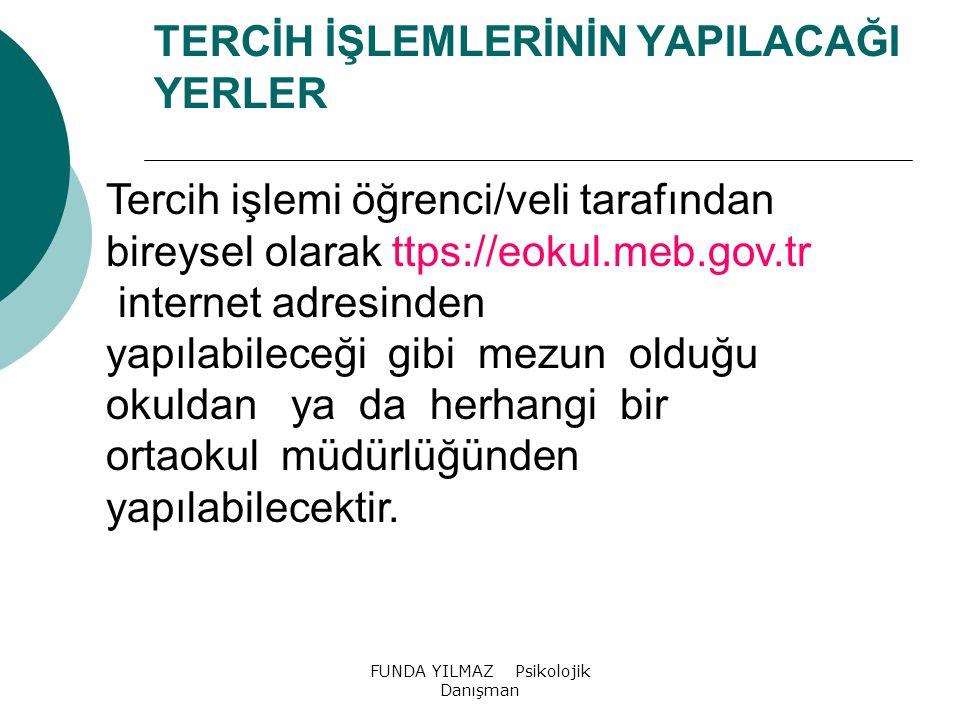 FUNDA YILMAZ Psikolojik Danışman 2015 ORTAÖĞRETİM KURUMLARI TERCİH VE YERLEŞTİRME TAKVİMİ TARİHİŞLEM 04-08 Mayıs 2015Okul kontenjan girişlerinin yapılması 11-15 Mayıs 2015İlçe ve il kontenjan girişlerinin onayı 18-22 Mayıs 2015Bakanlık kontenjan girişlerinin onayı 05 Haziran 2015Ortak Sınavlar Puanlarının İlanı 5-9 Haziran 2015Ortak Sınavlar Puanlarına İtiraz 24 Haziran 2015Tercihlere Esas Kontenjan Tablolarının İlanı 24 Haziran 20158'inci Sınıf Yerleştirmeye Esas Puanların (YEP) İlanı 24 Haziran 2015 10 Temmuz 2015 Sınavla Öğrenci Alacak Özel Okulların Kayıt İşlemleri 06-16 Temmuz 2015 (Saat 17.00'ye kadar) Yerleştirme İşlemleri İçin Tercihlerin Alınması 14 Ağustos 2015Yerleştirme Sonuçlarının İlanı ve Kesin Kayıt 14 Ağustos 2015Boş Kontenjanların İlan Edilmesi 17-21 Ağustos 2015İl/İlçe Öğrenci Yerleştirme ve Nakil Komisyonlarınca Tercih Başvuruların Alınması 24 Ağustos 2015Öğrenci Yerleştirme ve Nakil Komisyonları Yerleştirme Sonuçlarının İlanı ve Kesin Kayıt 24 Ağustos 2015Yerleşemeyen Öğrencilerin Açık Öğretim Kurumlarına Kayıtlarının Yapılması 14 Eylül 20152015-2016 Öğretim Yılı Açılışı