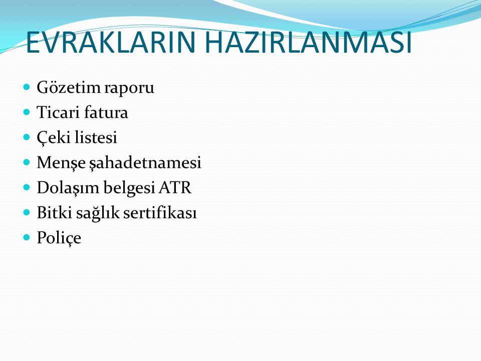 EVRAKLARIN HAZIRLANMASI Gözetim raporu Ticari fatura Çeki listesi Menşe şahadetnamesi Dolaşım belgesi ATR Bitki sağlık sertifikası Poliçe