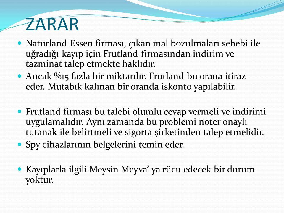 ZARAR Naturland Essen firması, çıkan mal bozulmaları sebebi ile uğradığı kayıp için Frutland firmasından indirim ve tazminat talep etmekte haklıdır. A