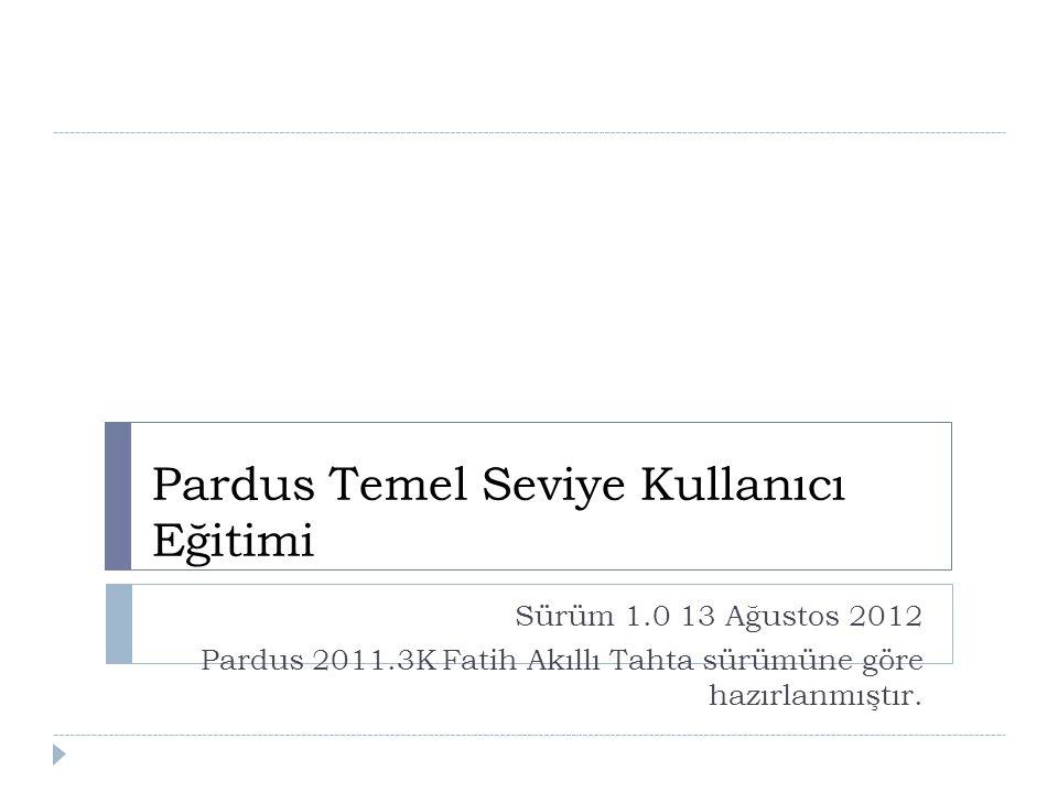 Pardus Temel Seviye Kullanıcı Eğitimi Sürüm 1.0 13 Ağustos 2012 Pardus 2011.3K Fatih Akıllı Tahta sürümüne göre hazırlanmıştır.