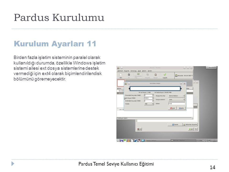 Pardus Temel Seviye Kullanıcı E ğ itimi 14 Pardus Kurulumu Kurulum Ayarları 11 Birden fazla işletim sisteminin paralel olarak kullanıldığı durumda, öz