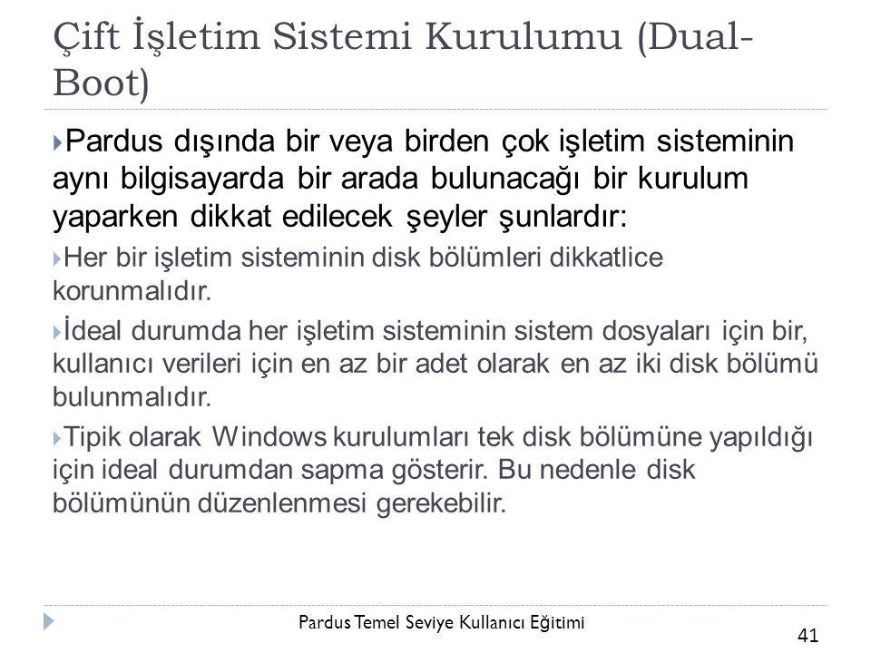 Pardus Temel Seviye Kullanıcı E ğ itimi 41 Çift İşletim Sistemi Kurulumu (Dual- Boot)  Pardus dışında bir veya birden çok işletim sisteminin aynı bil
