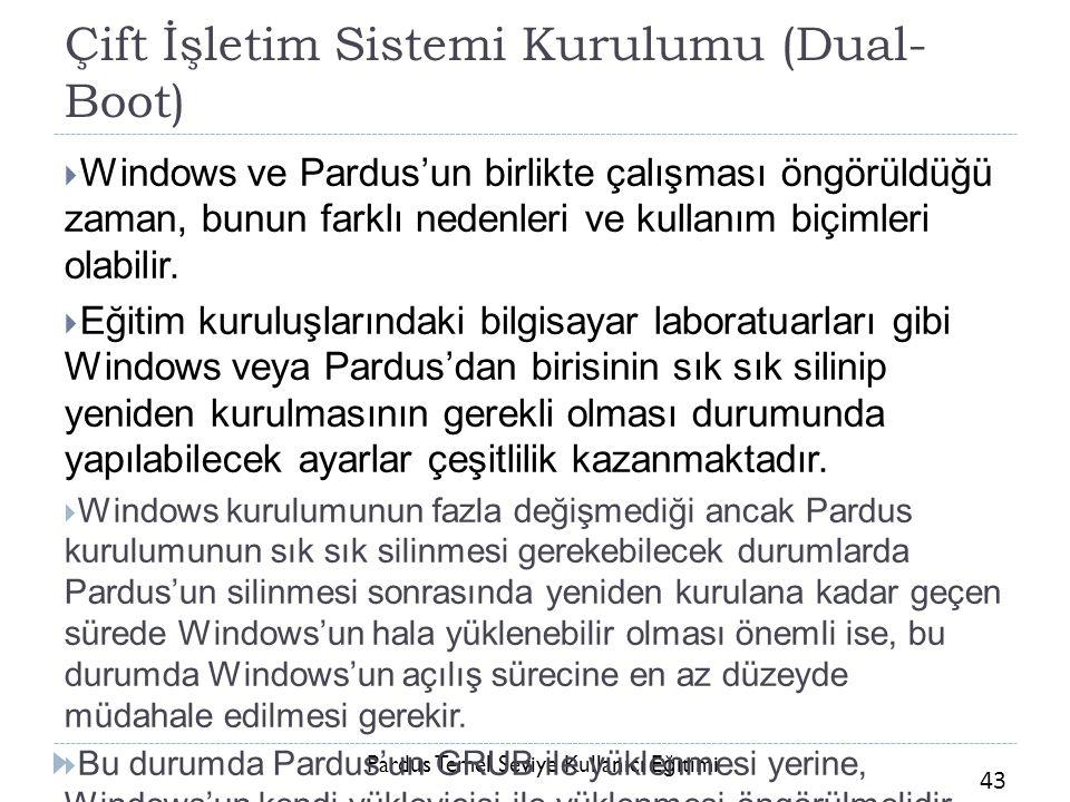 Pardus Temel Seviye Kullanıcı E ğ itimi 43 Çift İşletim Sistemi Kurulumu (Dual- Boot)  Windows ve Pardus'un birlikte çalışması öngörüldüğü zaman, bun