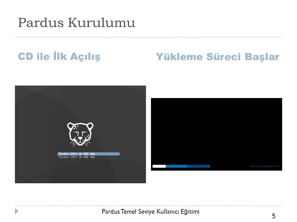 Pardus Temel Seviye Kullanıcı E ğ itimi 5 Pardus Kurulumu CD ile İlk Açılış Yükleme Süreci Başlar