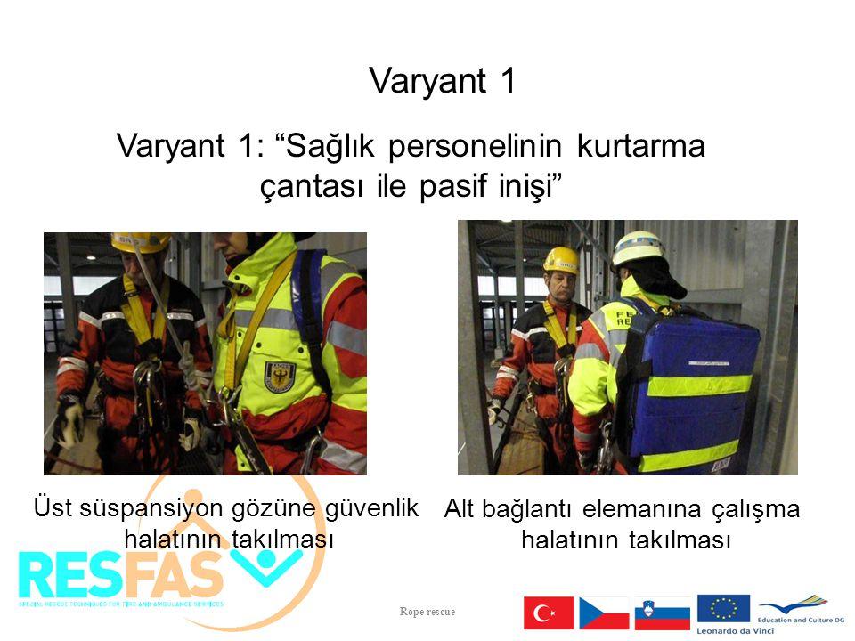 İniş pozisyonuna inildiğinde işaret verilmesi Paramedik veya doktorun pasif inişi Varyant 1 Varyant 1: Sağlık personelinin kurtarma çantası ile pasif inişi Rope rescue