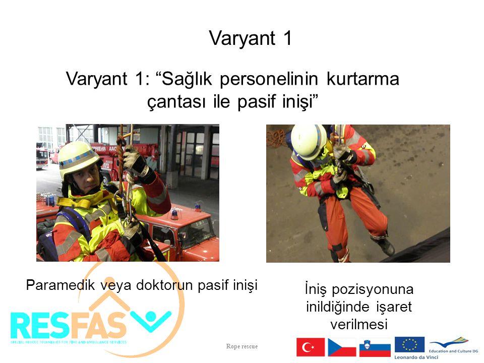 """İniş pozisyonuna inildiğinde işaret verilmesi Paramedik veya doktorun pasif inişi Varyant 1 Varyant 1: """"Sağlık personelinin kurtarma çantası ile pasif"""