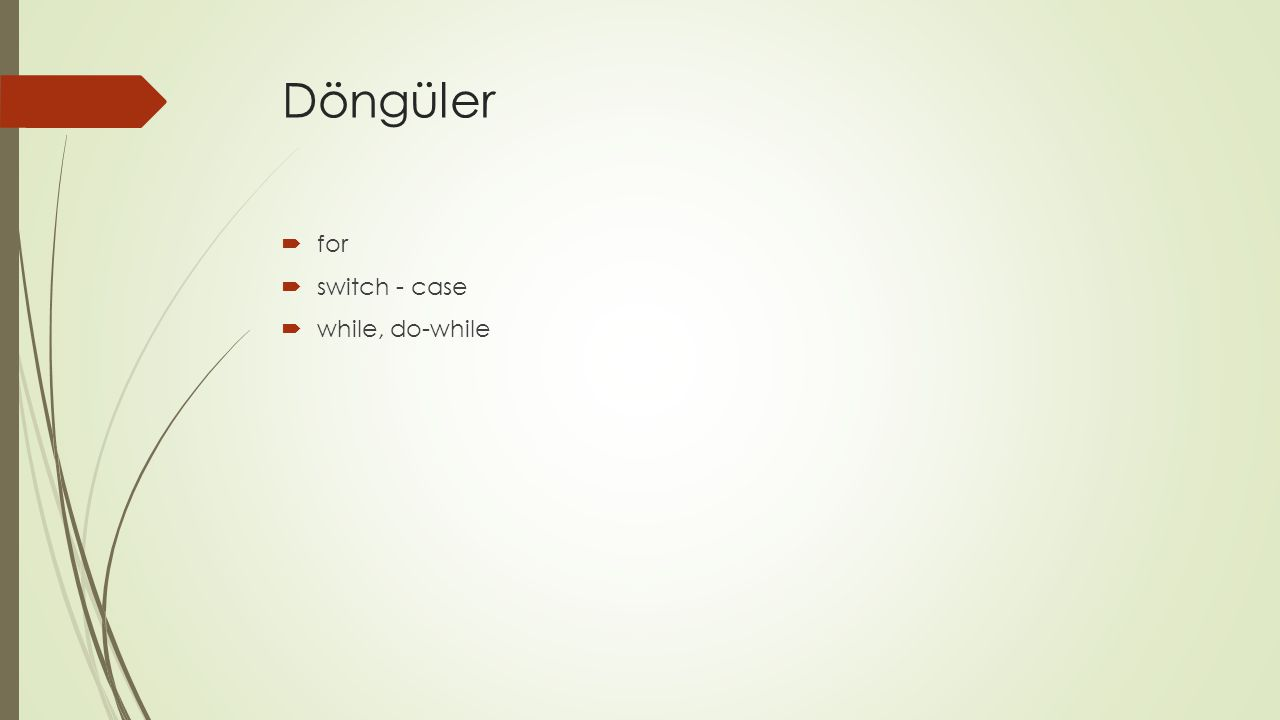 Döngüler  for  switch - case  while, do-while