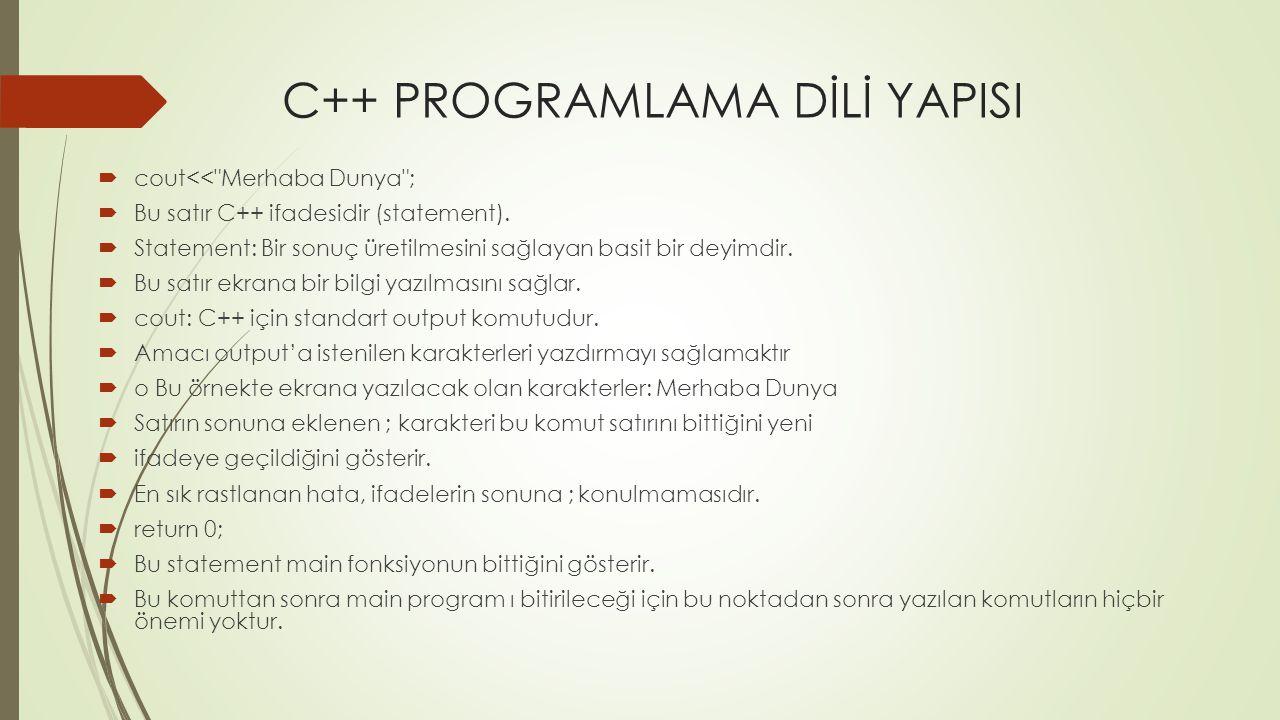 C++ PROGRAMLAMA DİLİ YAPISI  cout<<