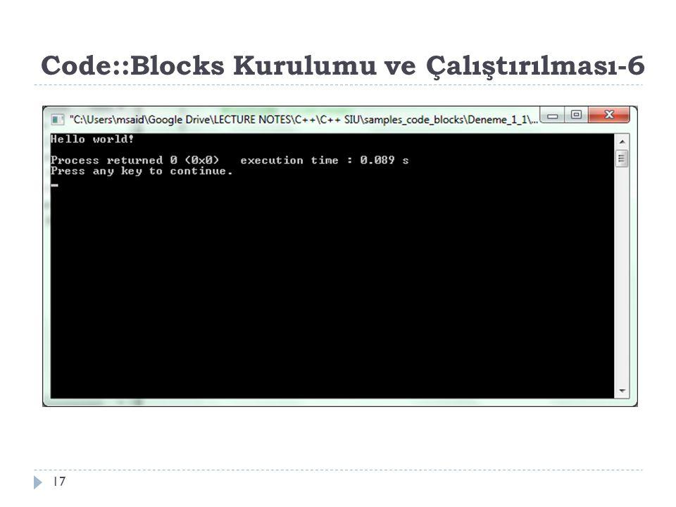 Code::Blocks Kurulumu ve Çalıştırılması-6 17