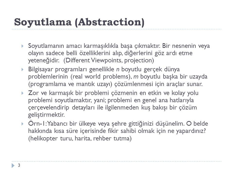 Soyutlama (Abstraction) 3  Soyutlamanın amacı karmaşıklıkla başa çıkmaktır. Bir nesnenin veya olayın sadece belli özelliklerini alıp, di ğ erlerini g