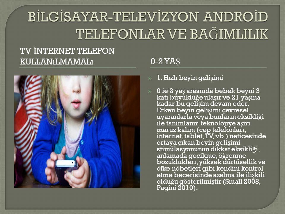 TV İ NTERNET TELEFON KULLANıLMAMALı0-2 YA Ş  1. Hızlı beyin geli ş imi  0 ie 2 ya ş arasında bebek beyni 3 katı büyüklü ğ e ula ş ır ve 21 ya ş ına