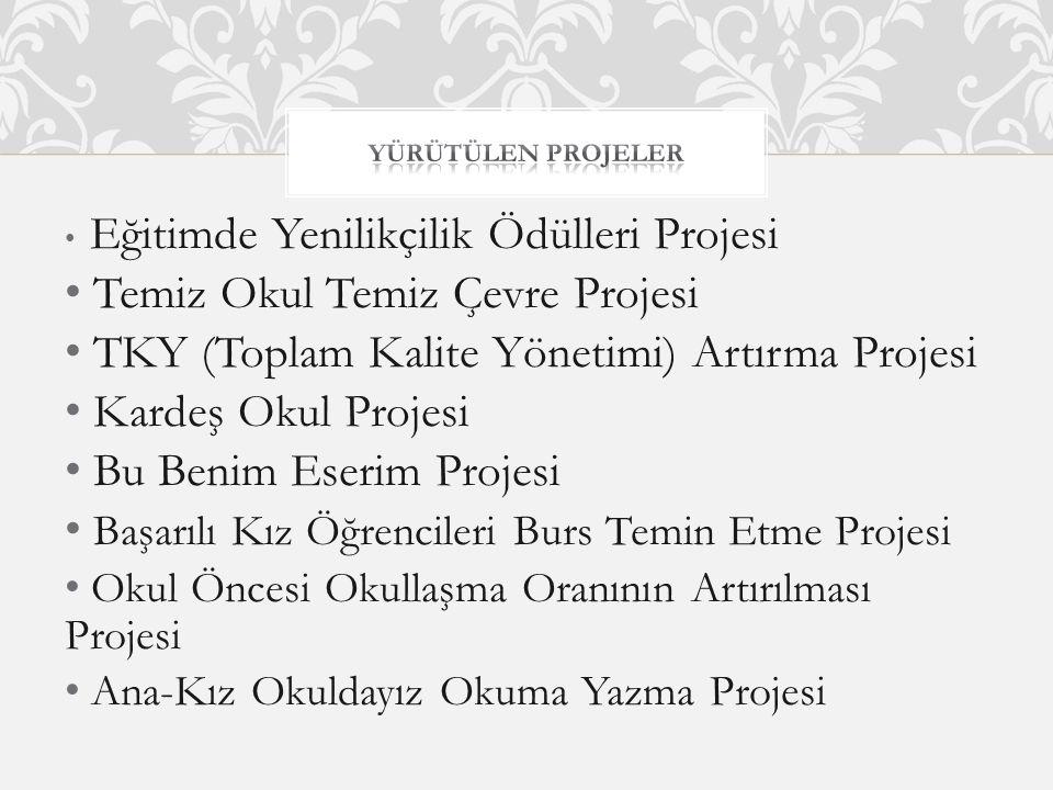 Eğitimde Yenilikçilik Ödülleri Projesi Temiz Okul Temiz Çevre Projesi TKY (Toplam Kalite Yönetimi) Artırma Projesi Kardeş Okul Projesi Bu Benim Eserim