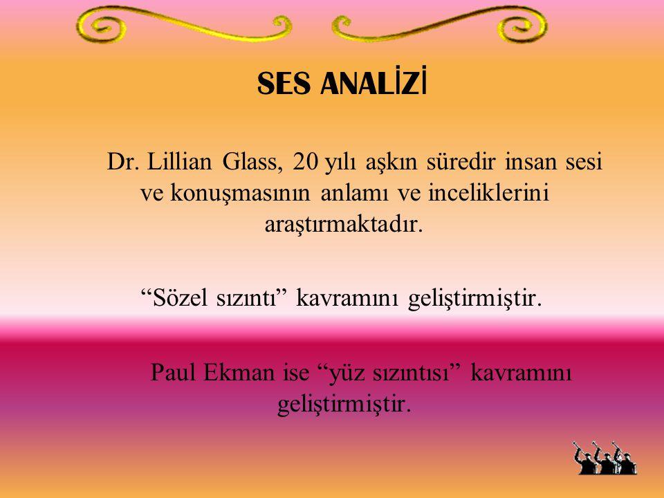 """SES ANAL İ Z İ Dr. Lillian Glass, 20 yılı aşkın süredir insan sesi ve konuşmasının anlamı ve inceliklerini araştırmaktadır. """"Sözel sızıntı"""" kavramını"""
