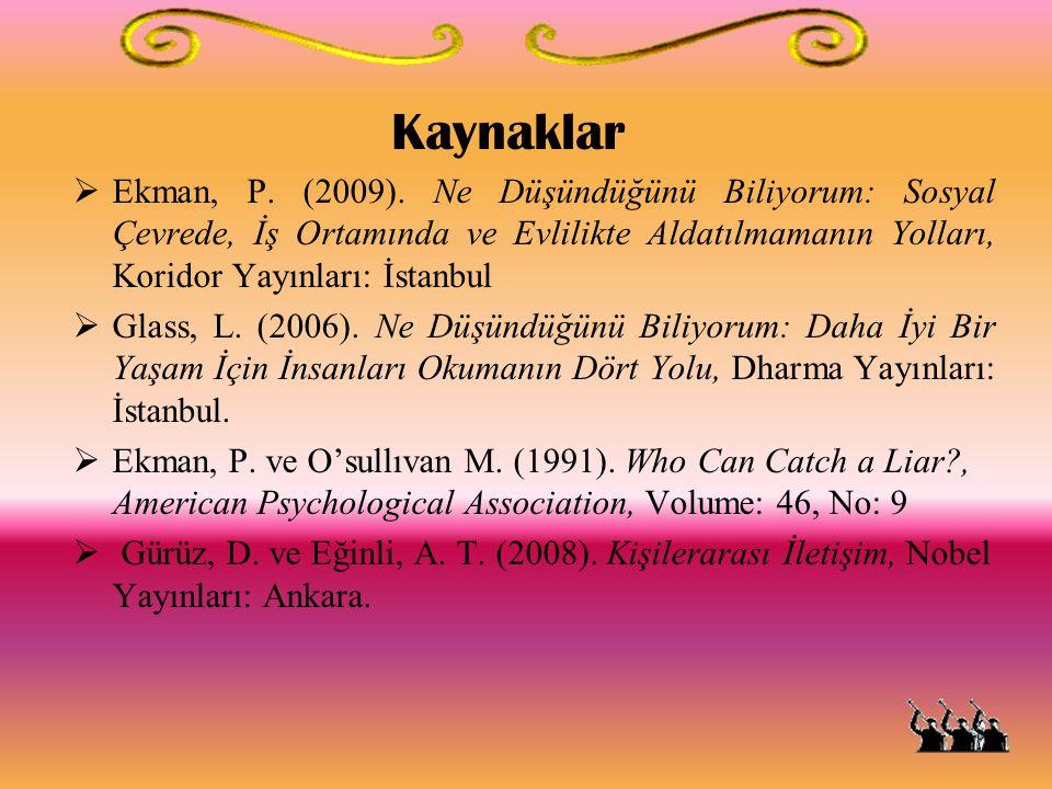 Kaynaklar  Ekman, P. (2009). Ne Düşündüğünü Biliyorum: Sosyal Çevrede, İş Ortamında ve Evlilikte Aldatılmamanın Yolları, Koridor Yayınları: İstanbul
