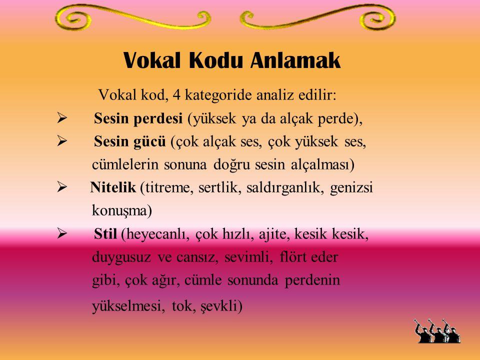 Vokal Kodu Anlamak Vokal kod, 4 kategoride analiz edilir:  Sesin perdesi (yüksek ya da alçak perde),  Sesin gücü (çok alçak ses, çok yüksek ses, cüm