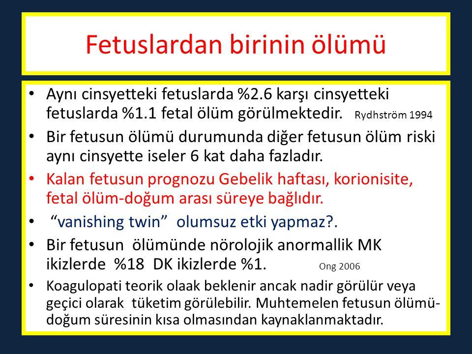 Koryonisite- Komplikasyonlar DKMK Abortus% 2% 10 Perinatal mortalite% 2% 5 < 32 hafta doğum% 5% 10 IUGR% 20% 30 Anomali% 3% 6 İkizlerde intrauterin ölümlerin ¾'ünden monokoryonik plasentasyon sorumludur