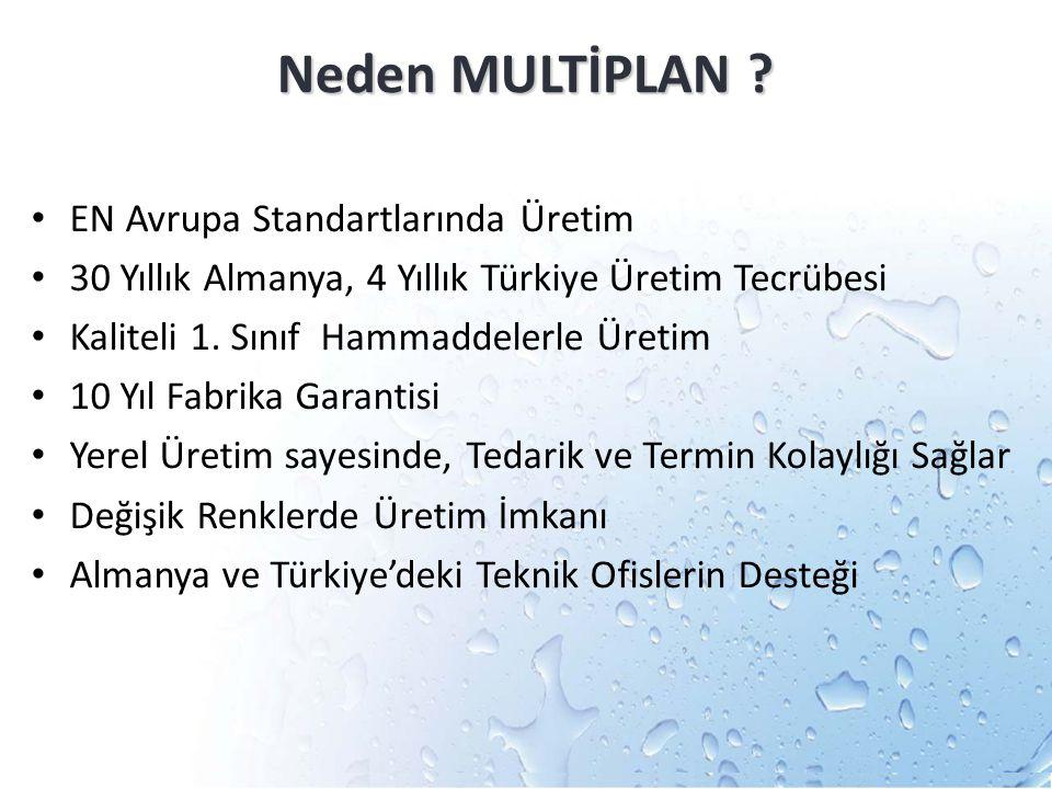 Neden MULTİPLAN ? EN Avrupa Standartlarında Üretim 30 Yıllık Almanya, 4 Yıllık Türkiye Üretim Tecrübesi Kaliteli 1. Sınıf Hammaddelerle Üretim 10 Yıl