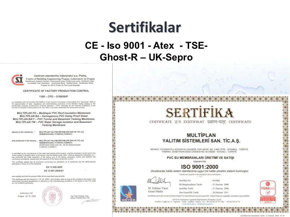 Sertifikalar CE - Iso 9001 - Atex - TSE- Ghost-R – UK-Sepro