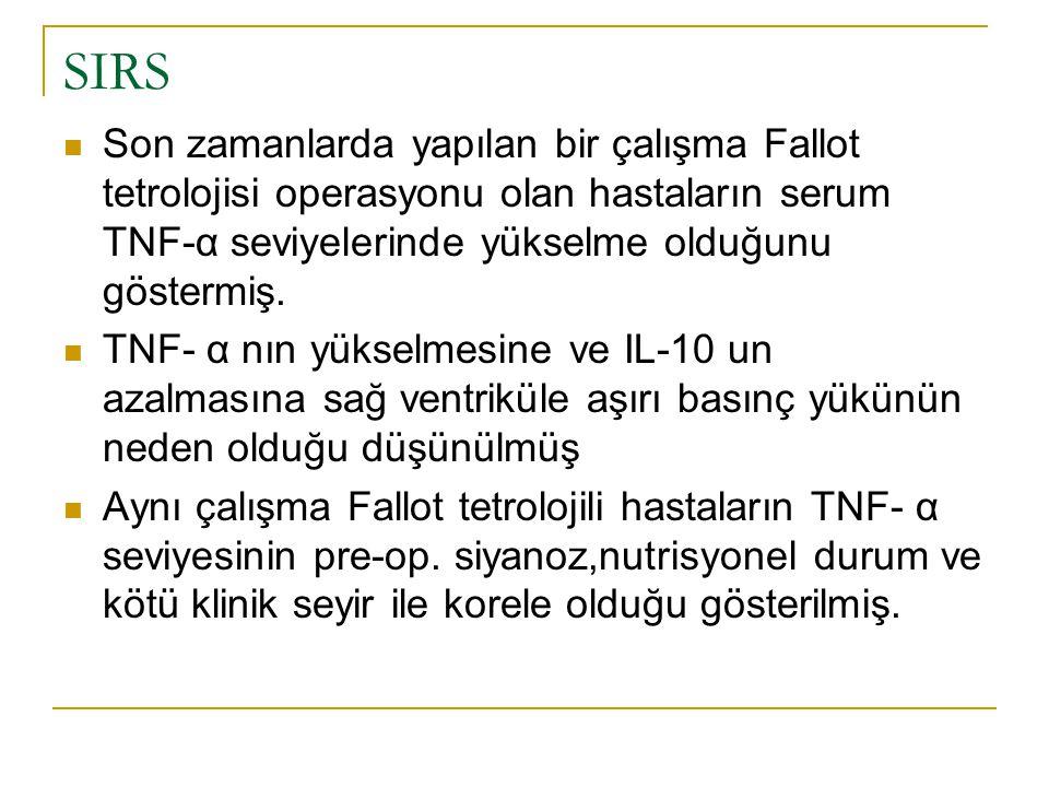 SIRS Son zamanlarda yapılan bir çalışma Fallot tetrolojisi operasyonu olan hastaların serum TNF-α seviyelerinde yükselme olduğunu göstermiş. TNF- α nı
