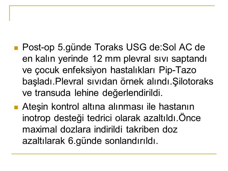 Post-op 5.günde Toraks USG de:Sol AC de en kalın yerinde 12 mm plevral sıvı saptandı ve çocuk enfeksiyon hastalıkları Pip-Tazo başladı.Plevral sıvıdan