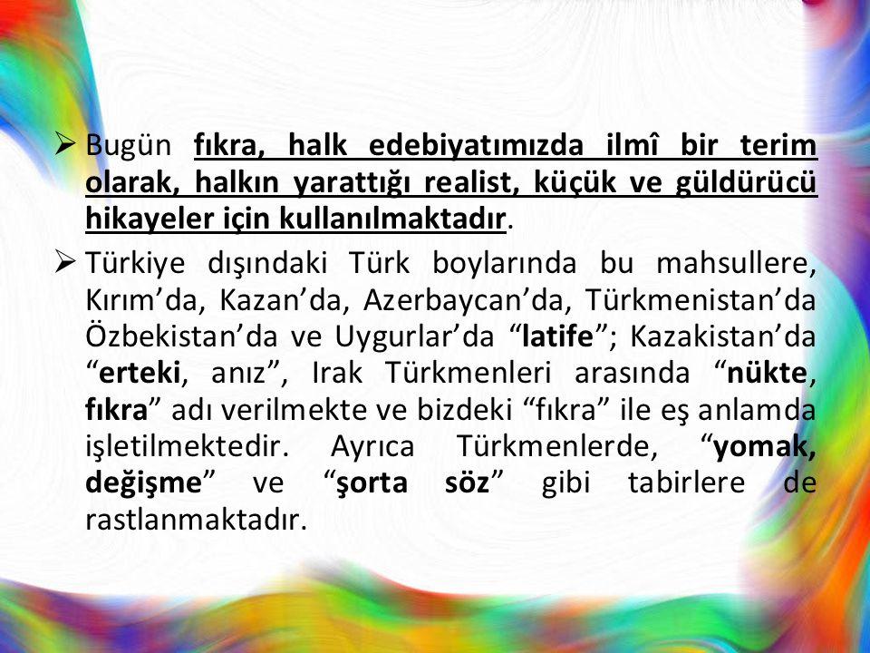  Bugün fıkra, halk edebiyatımızda ilmî bir terim olarak, halkın yarattığı realist, küçük ve güldürücü hikayeler için kullanılmaktadır.  Türkiye dışı