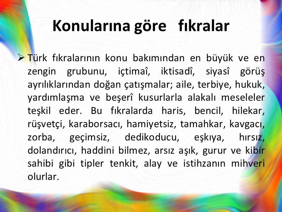 Konularına göre fıkralar  Türk fıkralarının konu bakımından en büyük ve en zengin grubunu, içtimaî, iktisadî, siyasî görüş ayrılıklarından doğan çatı