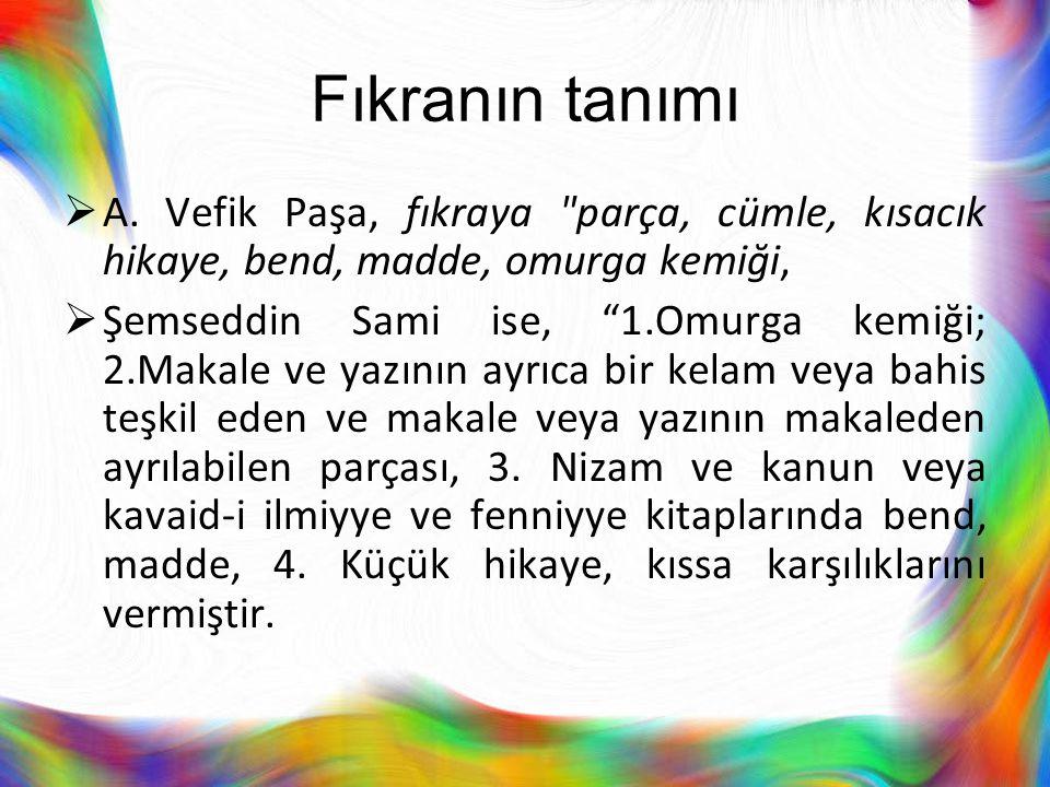 Türk fıkralarının yapı ve muhteva hususiyetleri  Fıkranın hikâye şeması içindeki iç mekanizması vak'a-tezat-muhakeme-sonuç unsurlarını ihtiva eder.