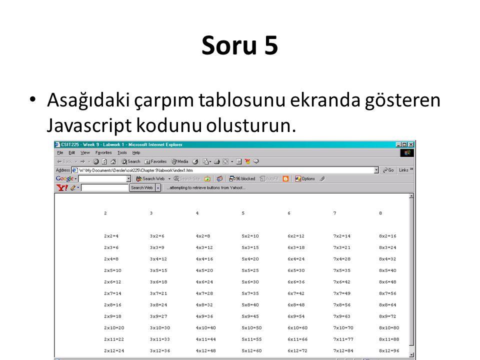 Soru 5 Asağıdaki çarpım tablosunu ekranda gösteren Javascript kodunu olusturun.