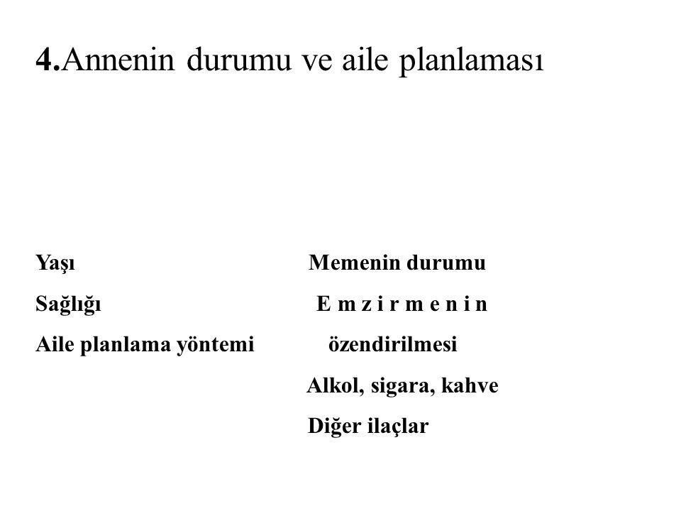 Yaşı Memenin durumu Sağlığı E m z i r m e n i n Aile planlama yöntemi özendirilmesi Alkol, sigara, kahve Diğer ilaçlar 4.Annenin durumu ve aile planlaması