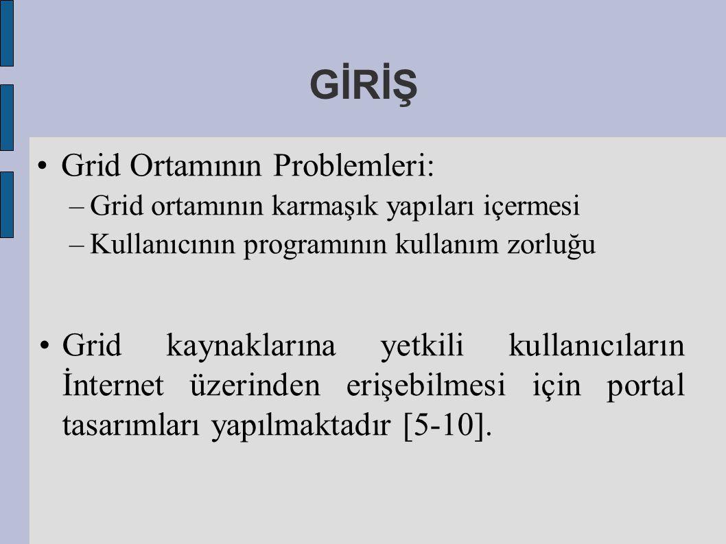 GİRİŞ Grid Ortamının Problemleri: –Grid ortamının karmaşık yapıları içermesi –Kullanıcının programının kullanım zorluğu Grid kaynaklarına yetkili kullanıcıların İnternet üzerinden erişebilmesi için portal tasarımları yapılmaktadır [5-10].