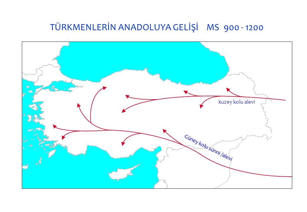 TÜRKMENLERİN ANADOLUYA GELİŞİ MS 900 - 1200 Güney kolu sünni /alevi kuzey kolu alevi
