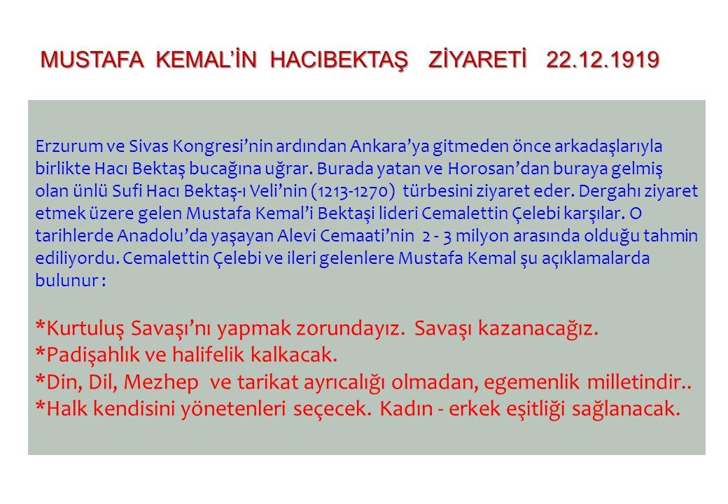 Erzurum ve Sivas Kongresi'nin ardından Ankara'ya gitmeden önce arkadaşlarıyla birlikte Hacı Bektaş bucağına uğrar. Burada yatan ve Horosan'dan buraya