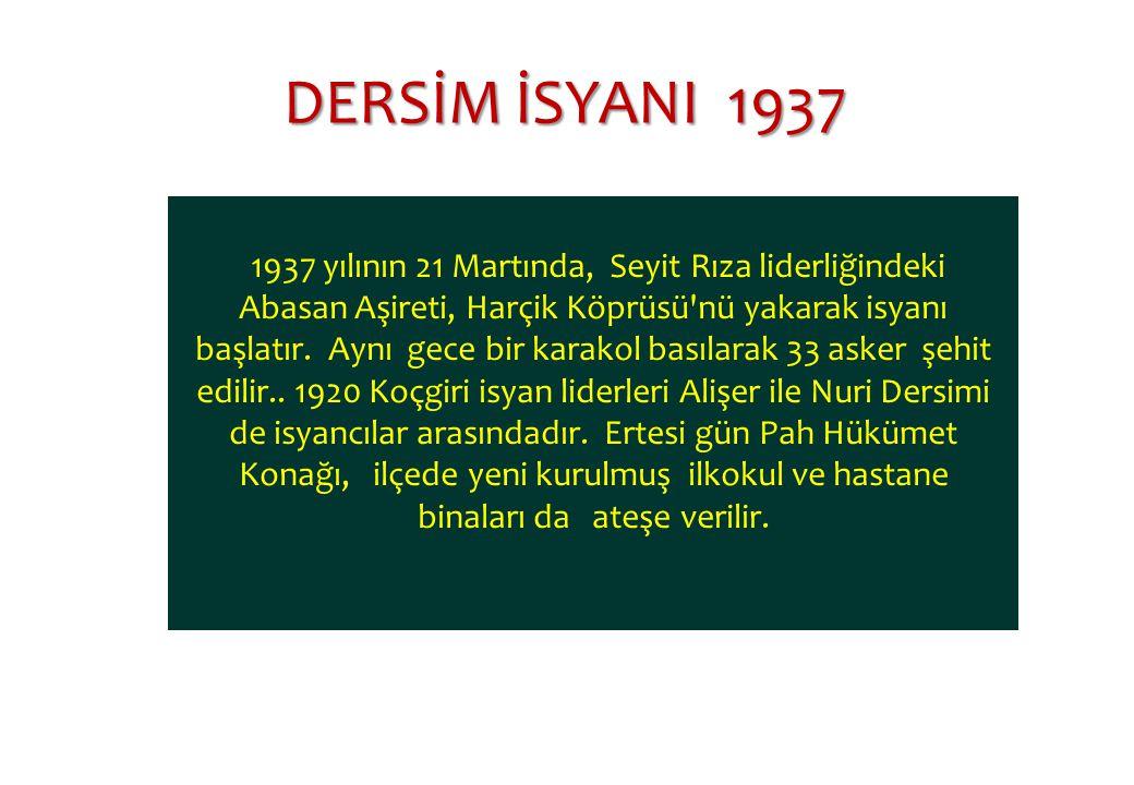 1937 yılının 21 Martında, Seyit Rıza liderliğindeki Abasan Aşireti, Harçik Köprüsü nü yakarak isyanı başlatır.