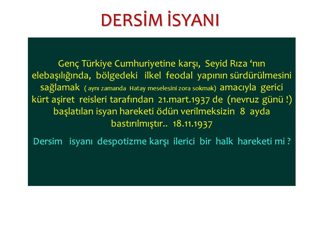 Genç Türkiye Cumhuriyetine karşı, Seyid Rıza 'nın elebaşılığında, bölgedeki ilkel feodal yapının sürdürülmesini sağlamak ( aynı zamanda Hatay meselesi