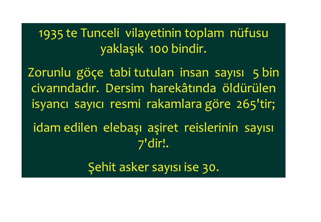 1935 te Tunceli vilayetinin toplam nüfusu yaklaşık 100 bindir. Zorunlu göçe tabi tutulan insan sayısı 5 bin civarındadır. Dersim harekâtında öldürülen