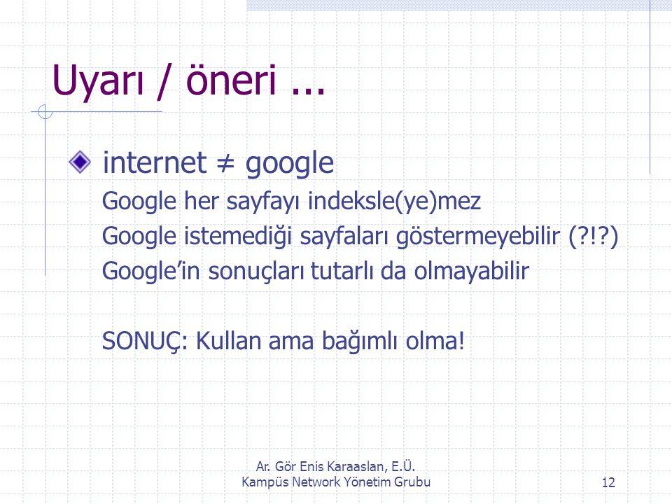 Ar. Gör Enis Karaaslan, E.Ü. Kampüs Network Yönetim Grubu12 Uyarı / öneri... internet ≠ google Google her sayfayı indeksle(ye)mez Google istemediği sa