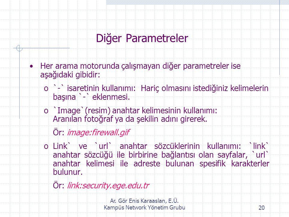 Ar. Gör Enis Karaaslan, E.Ü. Kampüs Network Yönetim Grubu20 Diğer Parametreler Her arama motorunda çalışmayan diğer parametreler ise aşağıdaki gibidir