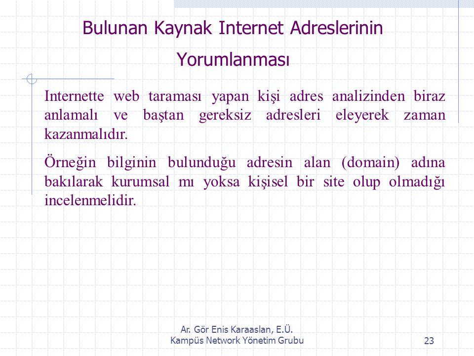 Ar. Gör Enis Karaaslan, E.Ü. Kampüs Network Yönetim Grubu23 Bulunan Kaynak Internet Adreslerinin Yorumlanması Internette web taraması yapan kişi adres