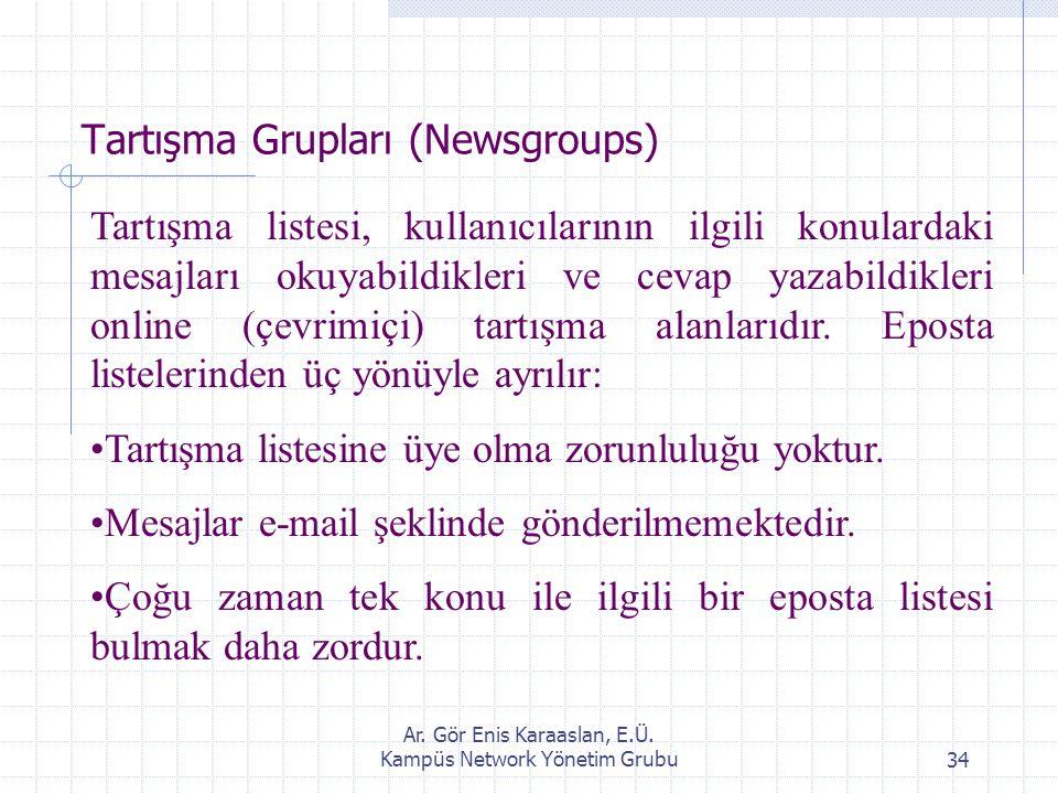 Ar. Gör Enis Karaaslan, E.Ü. Kampüs Network Yönetim Grubu34 Tartışma Grupları (Newsgroups) Tartışma listesi, kullanıcılarının ilgili konulardaki mesaj