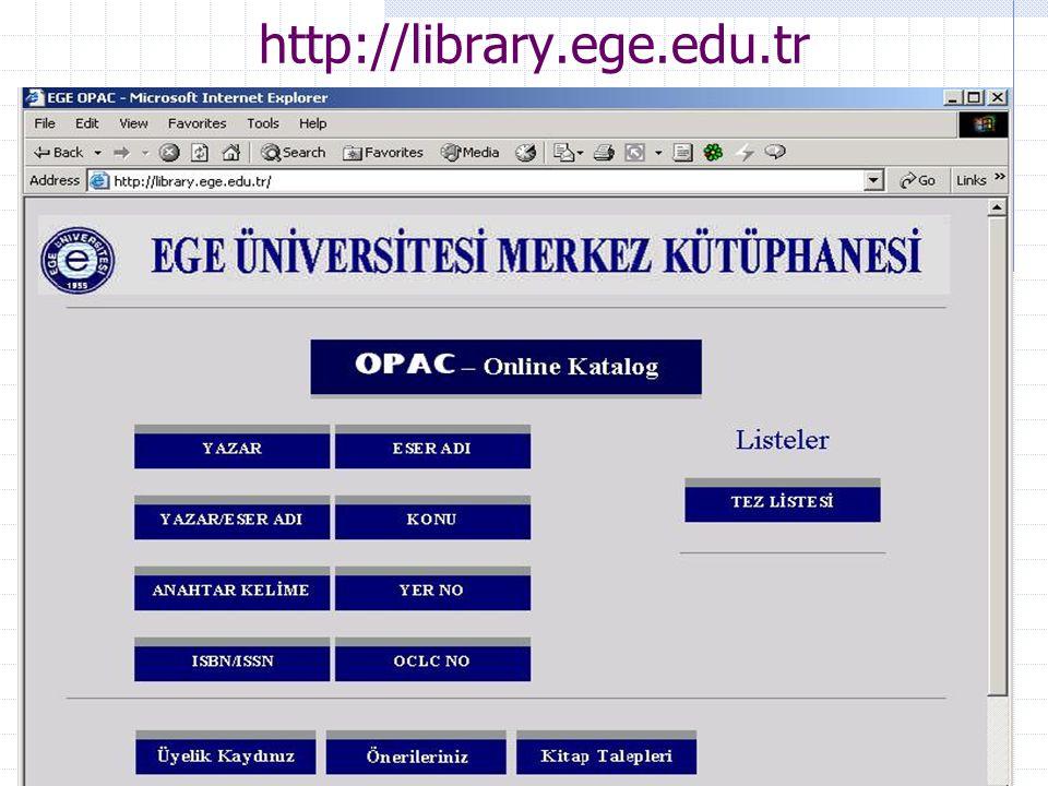 Ar. Gör Enis Karaaslan, E.Ü. Kampüs Network Yönetim Grubu42 http://library.ege.edu.tr