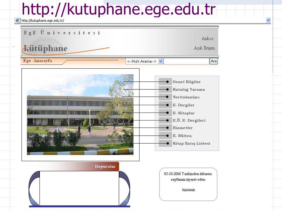 Ar. Gör Enis Karaaslan, E.Ü. Kampüs Network Yönetim Grubu45 http://kutuphane.ege.edu.tr