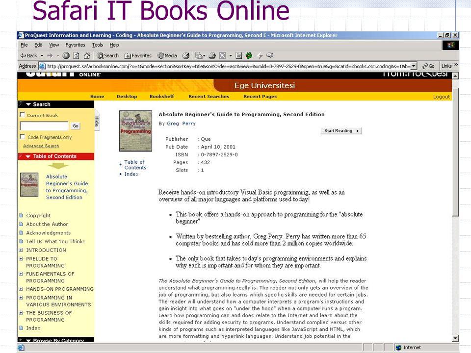 Ar. Gör Enis Karaaslan, E.Ü. Kampüs Network Yönetim Grubu48 Safari IT Books Online